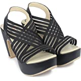 MONAQI Chunky Heels Sandal Summer Gladiator Open Toe Casual Adjustable Strap Heel Shoes Sandal