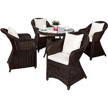 TecTake Luxus Alu Polyrattan Garten Sitzgruppe 4 Gartensessel und 1 ...