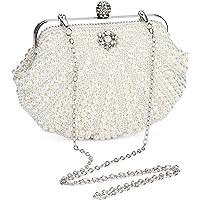 UBORSE Damen Abendtasche Weiß Clutch Perlen Handtasche Kleine Elegant Umhängetasche Mini Kette Tasche Weiß Vintage…