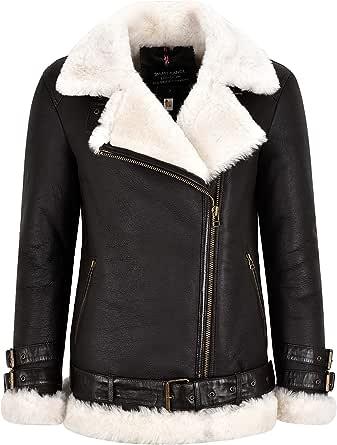 Smart Range Leather Giacca da Donna in Pelle di Montone B3 Giacca Lunga con Cintura in Pelliccia Shearling Marrone con Cerniera Incrociata NV-53