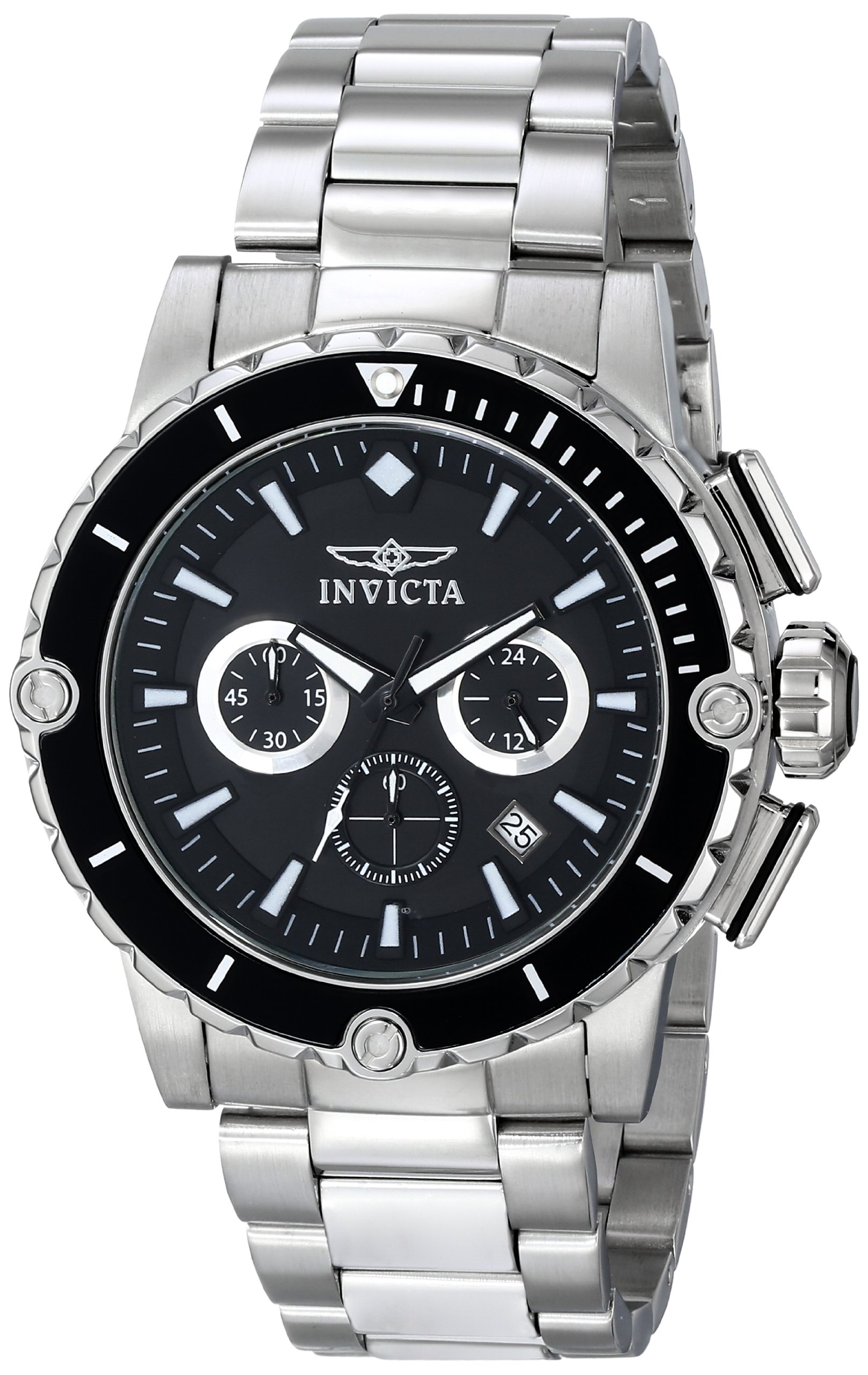 INVICTA 15398 – Reloj de cuarzo para hombre, correa de acero inoxidable color negro
