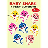 wow party studio baby shark theme cardstock cutouts for birthday party decoration - 8 pcs- Multi color
