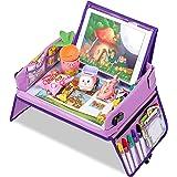 Jojoin Lila leksaksbricka för barn, mellanmål och lek resebricka med avtagbart stöd för surfplatta och 2 sidor blixtlåsskydd
