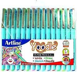 WRITEAWAY Artline Yoodle Fine Pen Assorted Colours (Combo Of 15) Pens 0.4 mm Tip