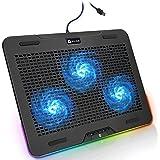 """KLIM Aurora + Refroidisseur PC Portable - 11"""" à 17"""" + Éclairage RGB + Support Ordinateur Portable Gaming + Ventilateur USB +"""