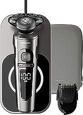 Philips SP9860/16 Elektrischer Nass- und Trockenrasierer Series 9000 Prestige mit Nano-Tech Präzisionsklingen, Bartstyler, Qi-Ladepad für kabelloses Laden