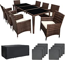TecTake Poly Rattan Aluminium Gartenmöbel Gartengarnitur Essgruppe Gartenset Sitzgruppe 8+1 schwarz + 2 Bezugsets - diverse Farben -