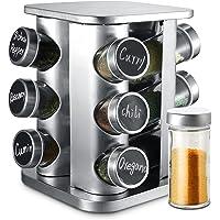 Porte-épices Rotatif à 360° avec 12 Pots à Épices - Bocaux Hermétiques - Avec Etiquettes et Marqueur Effaçable