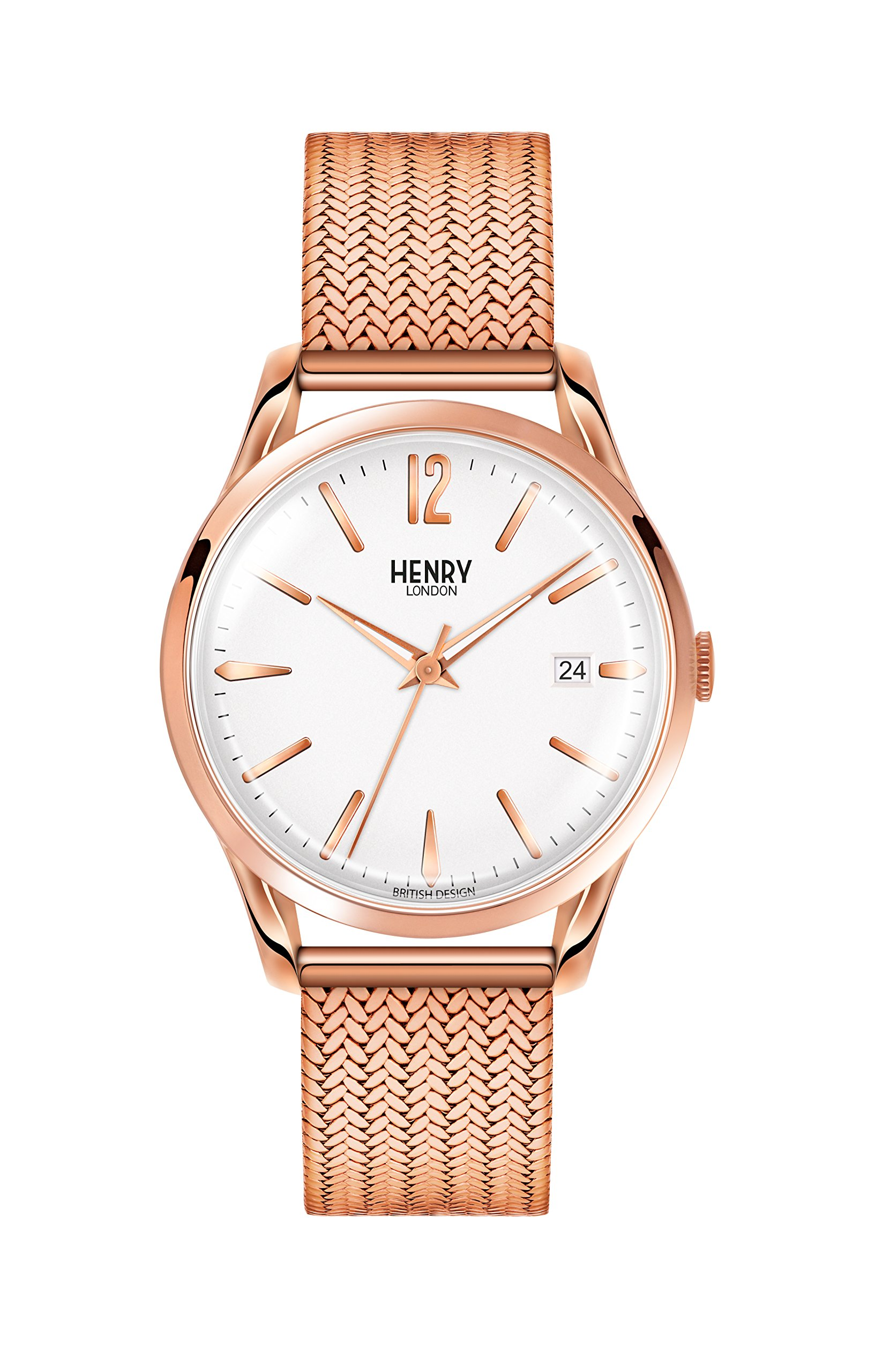 Henry London Unisex Richmond Quartz Watch with White Dial Analogue Display and Rose Gold Stainless Steel Bracelet