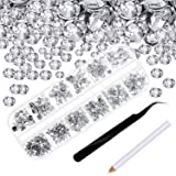 4000 Piezas de Diamantes de Imitación de Espalda Plana de Vidrio Hot Fix Gemas Cristales Redondas 1,5-6 MM en Caja de Almacen