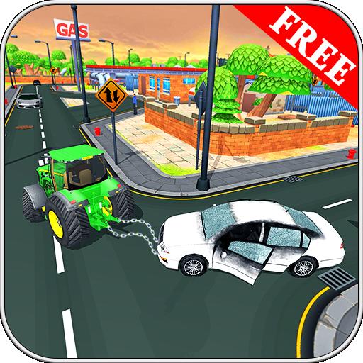 Gold-traktor (Schleppseil-Traktor im Stadt-Simulator 2018 3D)