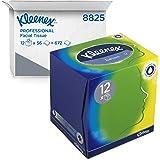Kleenex 8825 Fazzoletti di carta, 12 scatole cubiche da 56 fogli, 3 veli, con balsamo protettivo alla calendula, Balsam, Bian