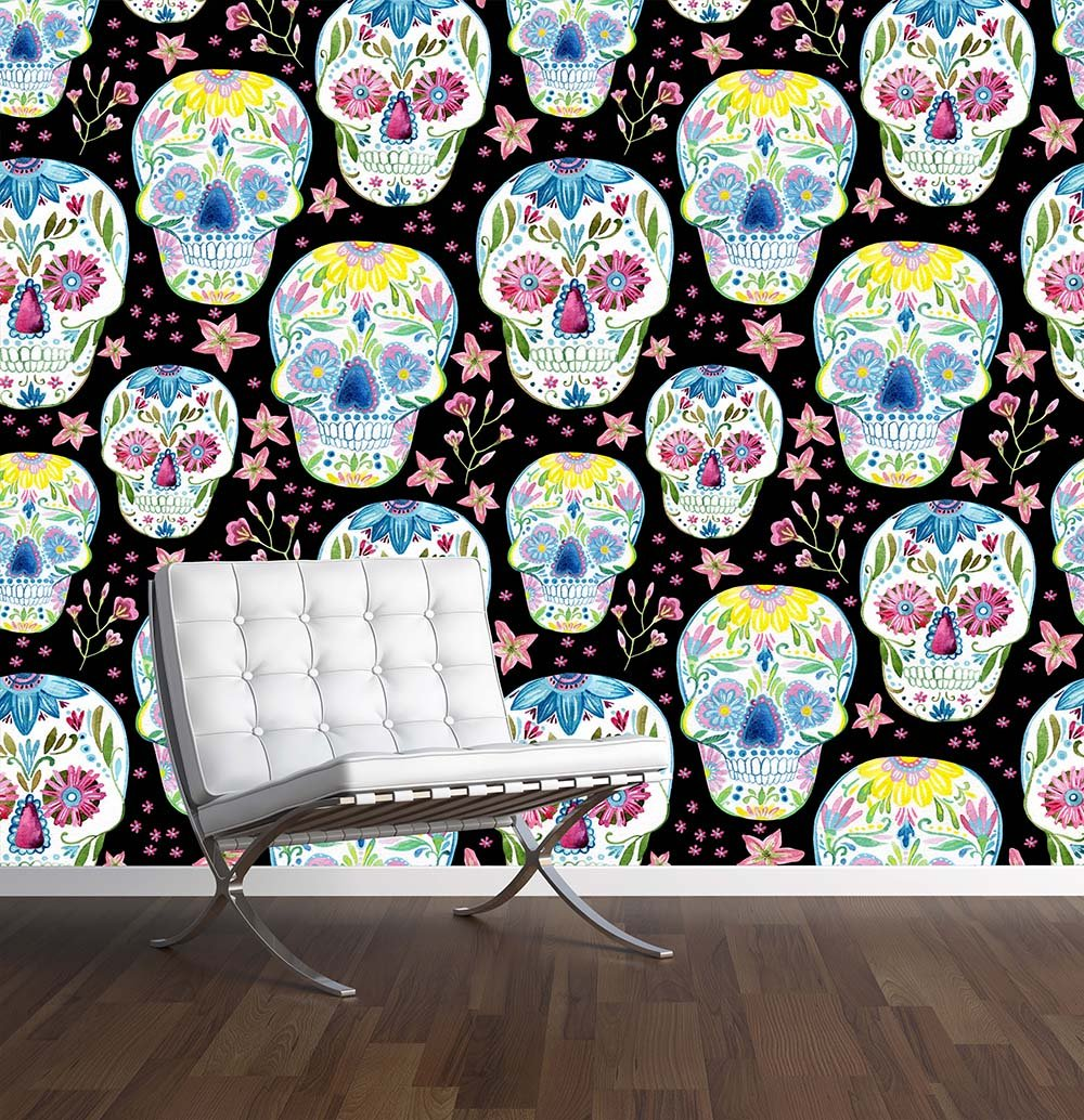 sugar skull wall mural photo wallpaper mexican day of the dead sugar skull wall mural photo wallpaper mexican day of the dead large 1500mm x 1150mm amazon co uk kitchen home