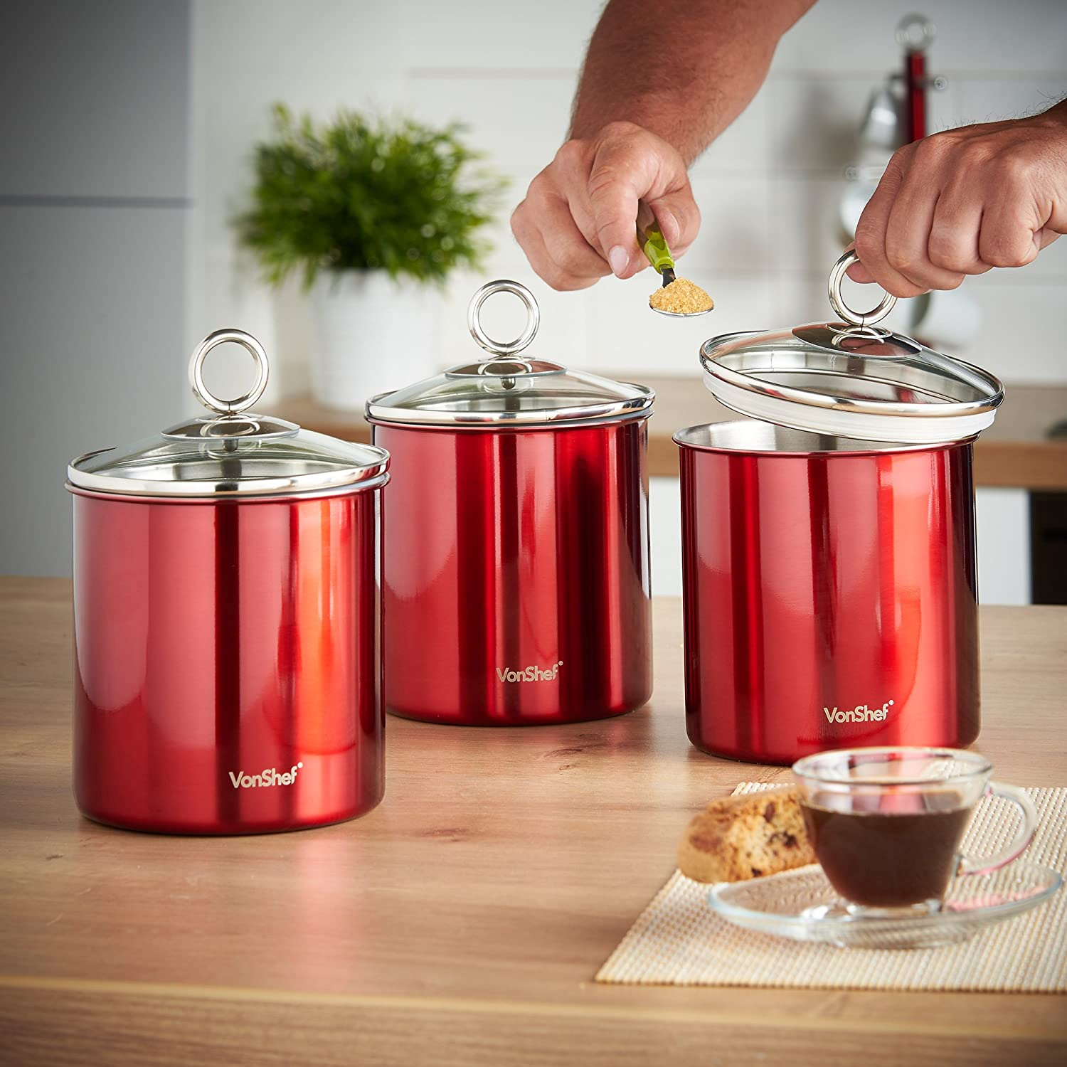 Awesome VonShef Set Of 3 Tea, Coffee U0026 Sugar Canisters/ Kitchen Storage Jars With  Glass Lids   Red Stainless Steel: Amazon.co.uk: Kitchen U0026 Home