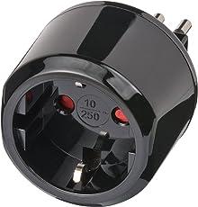 Brennenstuhl Reisestecker/Reiseadapter (Reise-Steckdosenadapter für: Italien Steckdose und Euro Stecker) Farbe: schwarz