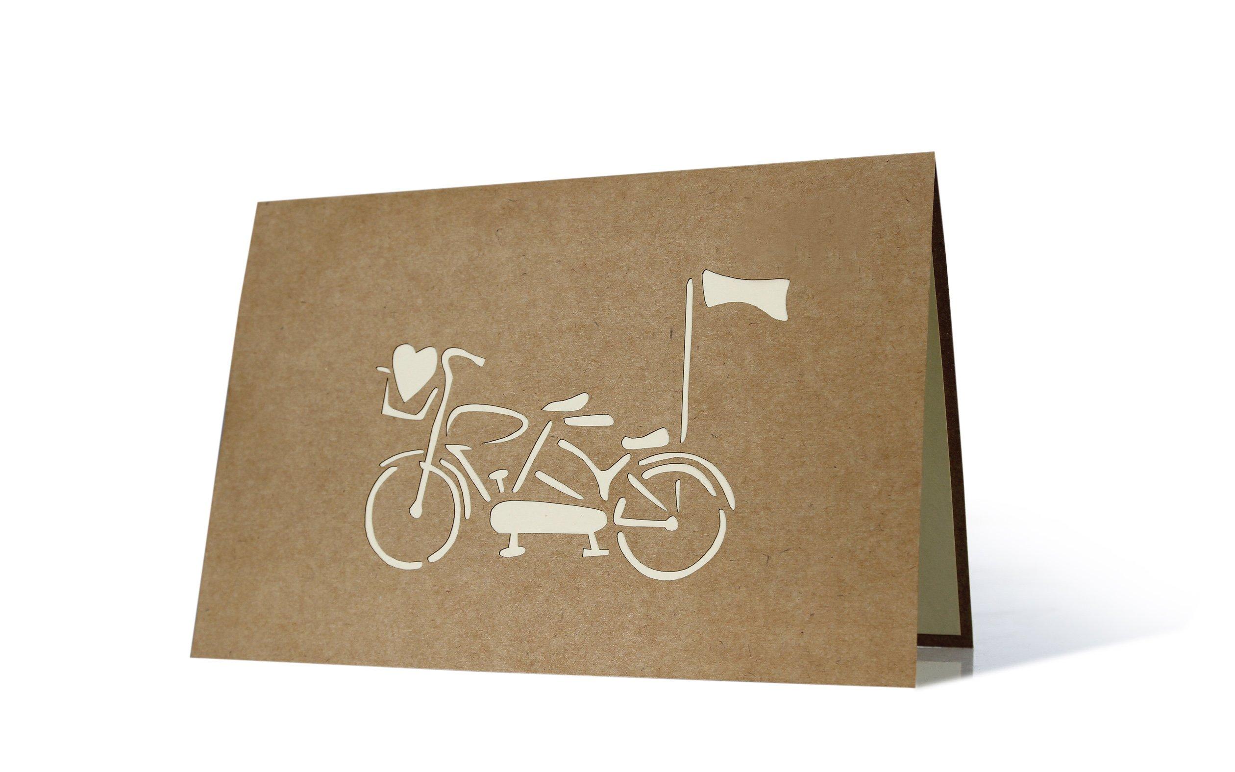 Edle Hochzeitskarte Hochzeitspaar Auf Fahrrad 3d Pop Up