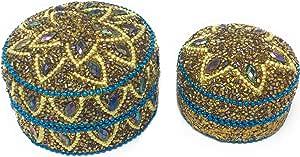 Marzoon 2 teiliges Perlendosen Set, Indische Schmuckdosen mit Perlen und Strasssteinen, Schmuckschachtel zur Deko und Aufbewahrung in 2 Größen Ø 7,5