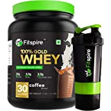 Fitspire 100% Gold Isolate Whey Protein with Shaker | No Added Sugar, Low Carbs, Zero Cholesterol & Gluten Free | ISO Certifi