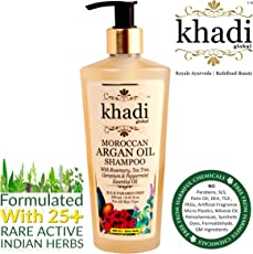 (Limited Introductory Offer) Khadi Global Moroccan Argan Hair Shampoo With Rosemary Tea Tree Geranium & Peppermint Essential Oil Infused With More Than 25 Rare Active Indian Herbs 250ml / 8.45 Fl.Oz | Anti Dandruff Shampoo For Healthy Hair & Scalp