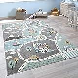 Vloerkleed voor in de kinderkamer, speelvloerkleed voor kinderkamer, met straatmotief, groen grijs, Maat:80x150 cm