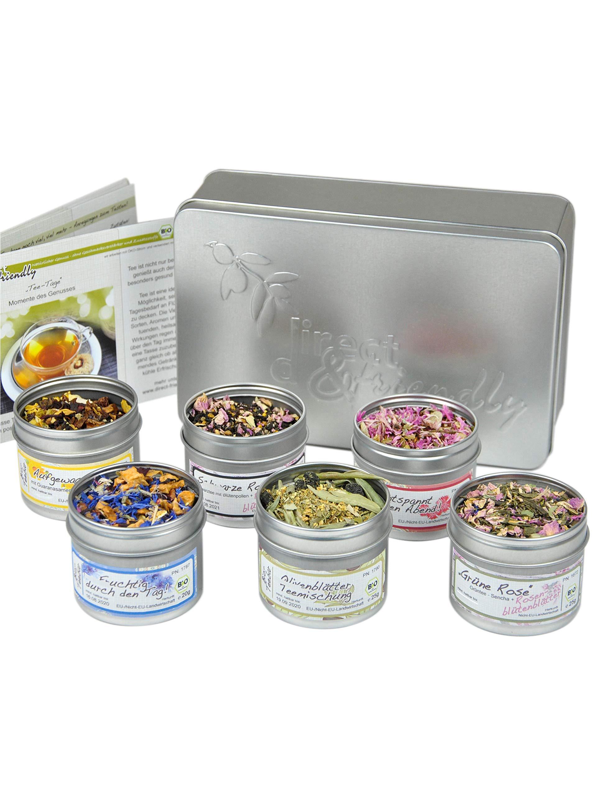 direct&friendly Bio Geschenkset mit 6 verschiedenen Bio Teemischungen