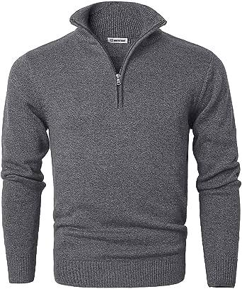 Garatia Men's Jumper Turtle Neck Zip Sweater Long Sleeve Comfortable Cotton Knit Sweatshirt