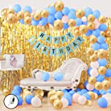 Party Propz 34Pcs Blue White and Golden Birthday Balloons Combo For boys Kids Baby Birthday Decoration Items,Foil