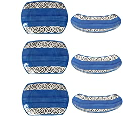 Snack Plate 7IN Ceramic/Stoneware in Blue and White Glossy Doodle (Set of 6) Handmade by Caffeine