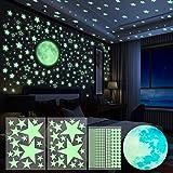 Yosemy 4pcs Wandsticker Leuchtaufkleber Sticker 563 Stück Leuchtsticker Wandtattoo Mond und Sterne Fluoreszierend Wandaufkleb