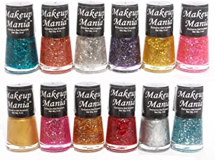 Makeup Mania Ultimate Glitter Nail Polish Set Combo (Multicolor Shimmer No.77, Pack of 12)