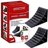 GADLANE Wheel Chocks Tyre Saver Brake Stoppers Ridged Caravan Horsebox Motorhome Car Wedges Trailer With Handle (Pack Of…
