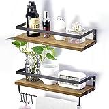 TYLINK Lot de 2 étagères flottantes en bois rustique avec rail et crochets pour cuisine, chambre, salon, salle de bain, burea