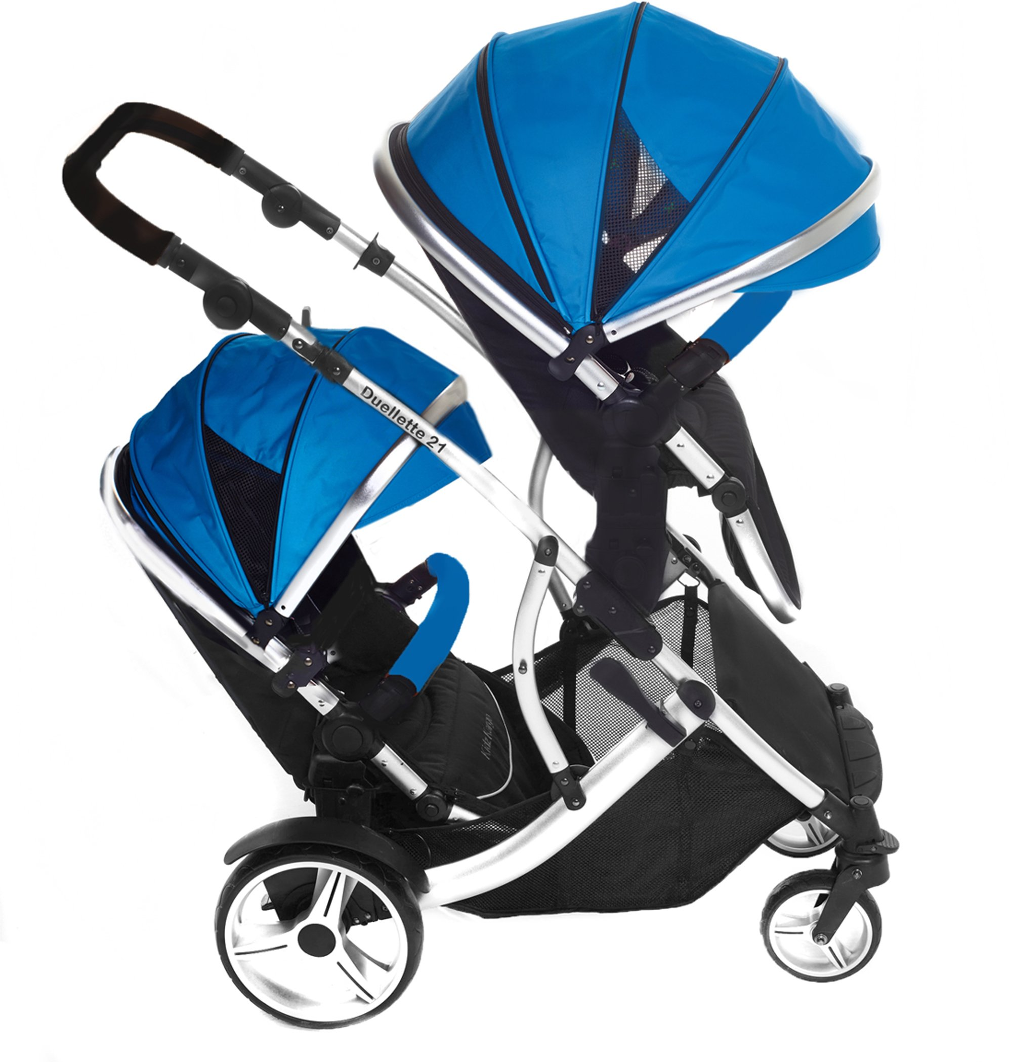 Duellette 21 BS Twin Buggy with Changing Bag and Accessories, Raincovers and 2 Footmuffs Teal Mist Kids Kargo Various seat positions. Both seats can face mum (ideal for twins) Suitability Newborn Twins (if used with car seats) or Newborn/toddler. Accommodates 1 or 2 car seats 3