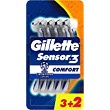 Gillette Sensor3 Comfort Lamette da Uomo Usa e Getta, Confezione da 5