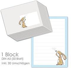 """Schreibblock / Briefblock """"HASE HAMLET"""" DIN A5 (liniert 50 Blatt) inklusive 20 passenden Umschlägen / Briefpapier für Kinder / Briefpapier Set Kinder"""