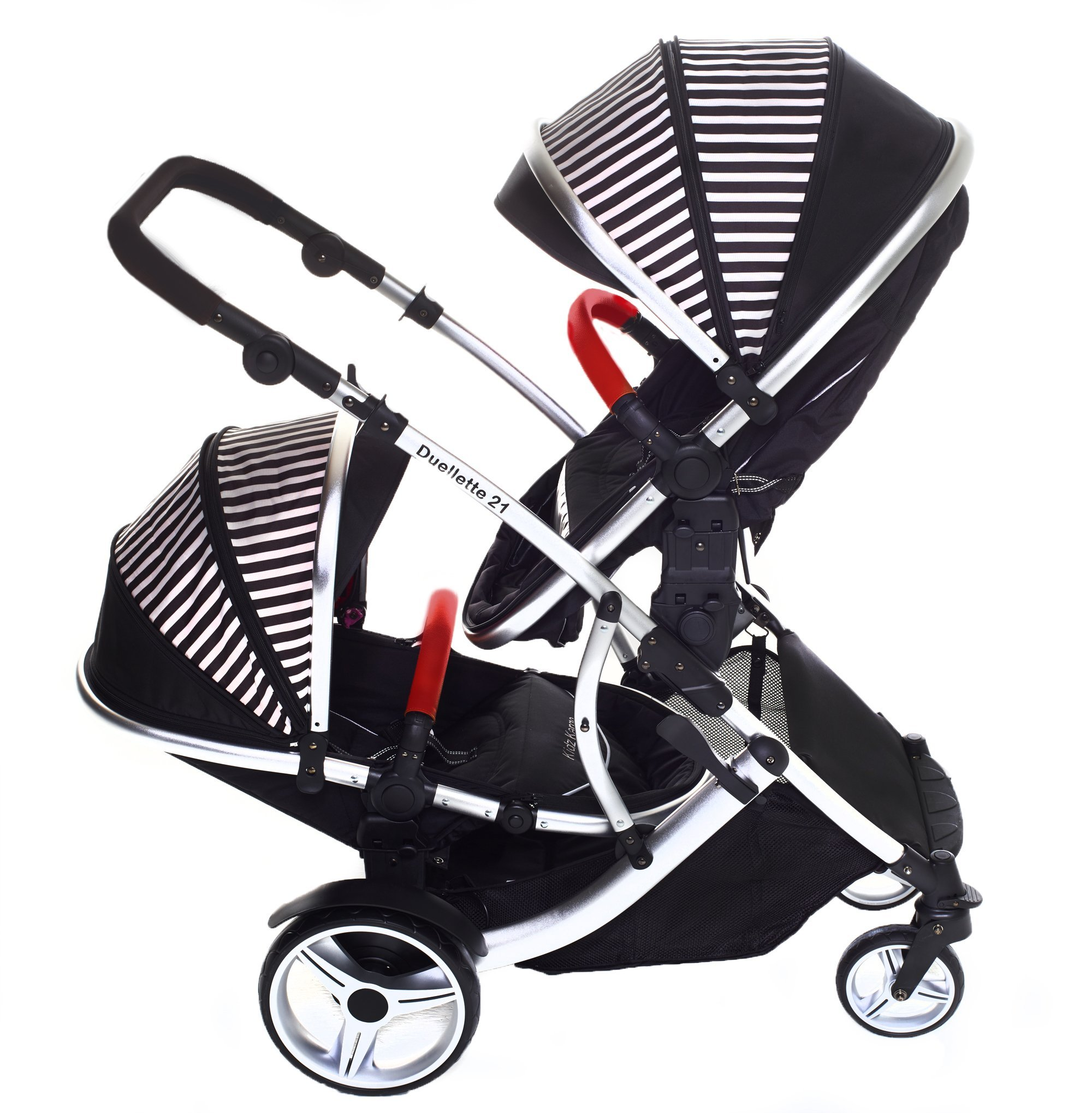 Duellette 21 BS Twin Double Pushchair Stroller Buggy Brand New Colour Range! (Oxford stripe plain bumpers) Kids Kargo Demo video please see link http://youtu.be/Ngj0yD3TMSM Various seat positions. Both seats can face mum (ideal for twins) Suitability Newborn Twins (if used with car seats) or Newborn/toddler. Accommodates 1 or 2 car seats 4