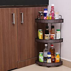 Kurtzy Standing Wall Corner Rack Storage Organizer for Kitchen Living Room Office 3Tier 31x21x58Cms