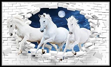 Graphics World vastu Poster White 3 Horse vastu Painting, running horses, vastu painting for home and office, lucky horses painting, horses painting, vastu horses, wall paintings, wallpaper, natural photo, …