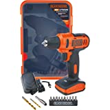 Black+Decker 12V 1.5Ah 900 RPM Cordless Drill Driver with 13 Pieces Bits in Kitbox For Drilling and Fastening, Orange/Black -