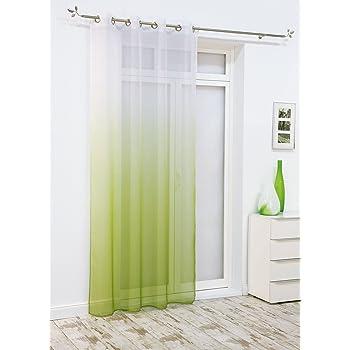Brandsseller Ösenschal Deko Ösen Schlaufen Schal Vorhang Gardine Fenster  Schals Rainbow   Grün/Weiss