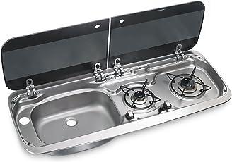 Dometic HSG 2370 Liter, Einbau Gas-Kochfeld und Spüle, 2-flammig, mit Glasdeckel, 30 mbar, für Auto, LKW, Wohnmobil und Boot