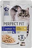 Perfect Fit Katzen-/Nassfutter Adult 1+ für erwachsene Katzen Indoor mit Huhn & Erbsen, 12 Portionsbeutel (12 x 85 g)