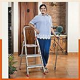 Bathla Advance 3-Step Foldable Aluminium Ladder with Sure-Hinge Technology (Orange)