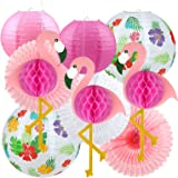 LIHAO 10 stycken Hawaii tropisk dekoration flamingo festset flamingo pompoms ananas papperslykta papperslampor pappersfack fö