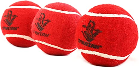 Spartan Cricket Tennis Ball Heavy, Pack of 3 (Red)