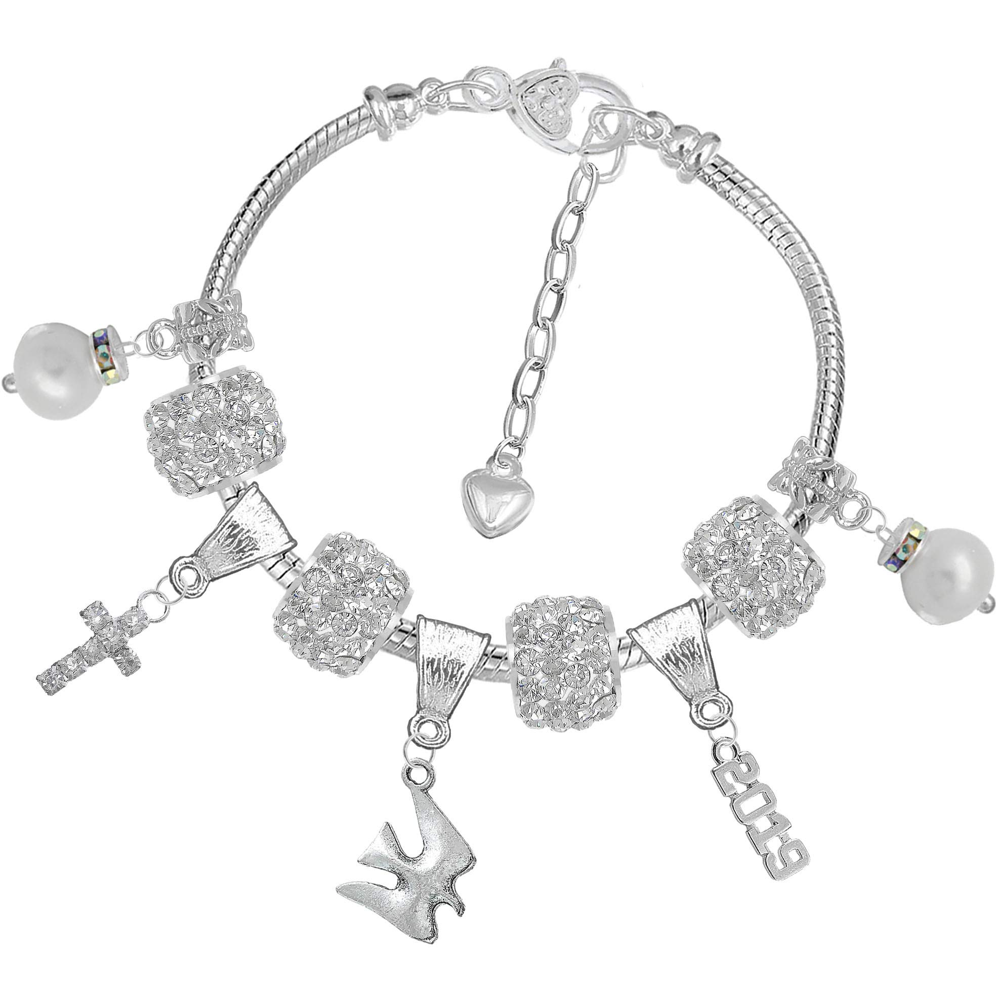 Girls 2019 Crystal Pearl Confirmation Charm Bracelet Gift Set