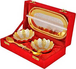 INTERNATIONAL GIFT German Silver & Gold Bowl with Spoon with Tray and Velvet Box (Gold) - Set of 5 Pieces