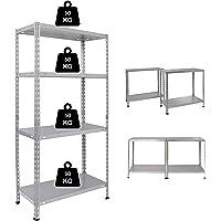 NAWA Kit d'étagère en Métal avec 4 Tablettes Galvanisées (137 x 70 x 30 cm)