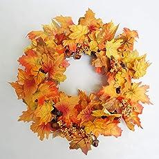 Xenotec Deko Kranz mit Herbstlaub Eicheln und Beerenrispen Herbstkranz Tischkranz Türkranz Herbstdeko Tischdeko