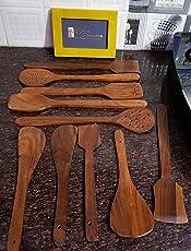 Onlineshoppee® Wooden Spoon Set- 10 Pcs Brown